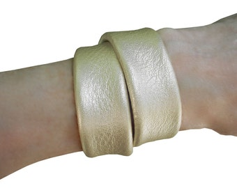 Double Wrap LEATHER Bracelet Gold Wrapping Bracelet Metallic Gold Leather Layered Cuff Double Wrap Leather Bracelet Cuffs