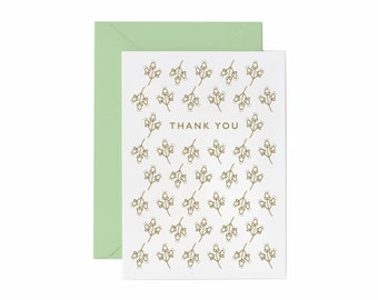 Letterpress Printed Thank You greeting card in Gold Ink with Mint Envelope