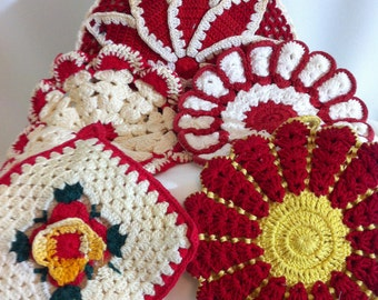 Vintage Hand Crocheted Set of Five Doilies/Retro Kitchen Decor