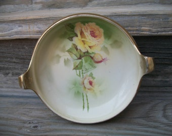 Yellow Rose of Texas, Antique Candy Dish, Hand Painted