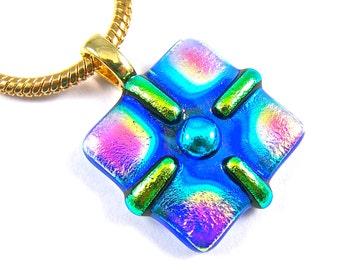 "Dichroic Glass Pendant - Copper Orange Gold Blue Black Rainbow Framed CROSS Fused Glass - 1"" / 25mm- Tie Dye Prism Swirl Patterned Glass"