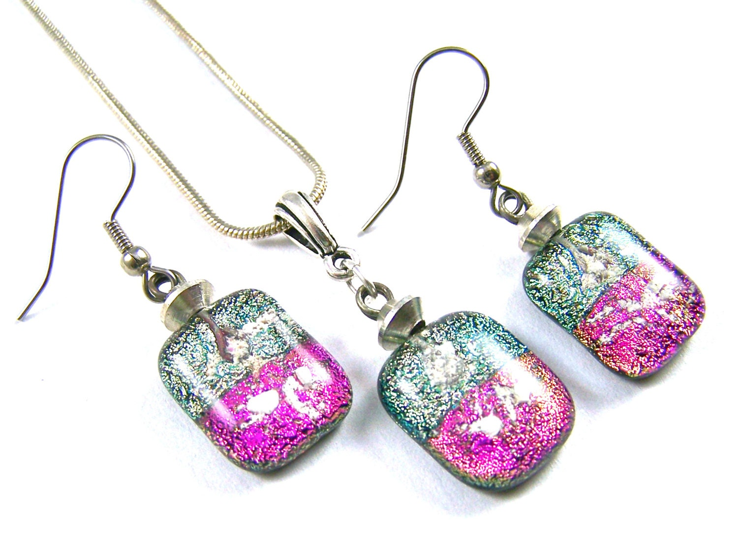 Dichroic glass pet ashes cremation dangle earrings pendant set for Cremation jewelry for pets ashes