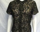 Vintage Mid Century Black Illusion Nude Sheer Lace Blouse