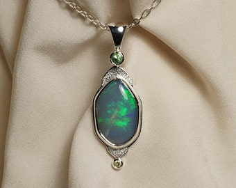 Opal Tsavorite Garnet Diamond Pendant Necklace in Sterling Silver