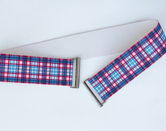 Sample sale - Size small women's plaid belt - blue and pink elastic belt
