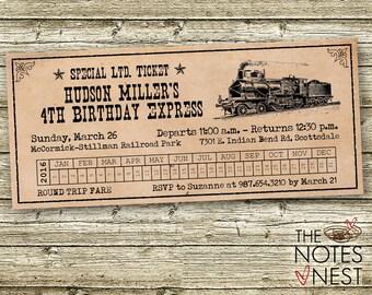 Vintage Train Ticket Birthday Invitation - Custom Printable