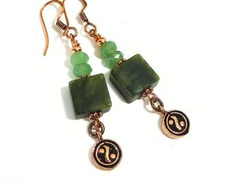 Yin Yang Jade Earrings, Copper Earrings, Beaded Gemstone, Dangle Earrings