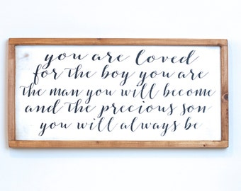 Boy Room Decor, You Are Loved Son, Nursery Decor, Little Boy Decor, Wood Sign, Rustic Wood Sign, Art for Boy Room, Gift for Son, Cedar Frame