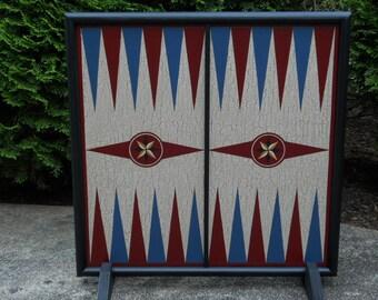 "19"",  Primitive,  Wood,  Backgammon,  Game Board, Folk Art,  Wooden, Game Boards, Hand Painted"