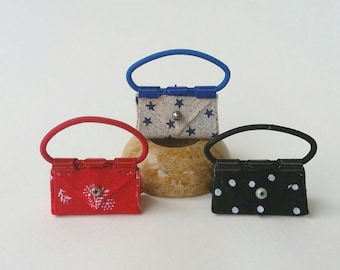 3 Doll Purses for Barbie or other Fashion Dolls.  Handcrafted. Liv, Fashion Royalty. Black Polka Dots, Red, Blue Stars Purses. Cute! OOAK