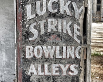 Old Sign Art, Bowling Sign, Lucky Strike Bowling Alley Sign, Alabama Photography