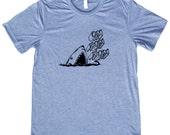 Om Nom Nom Great White Shark Tee Shirt - Original Illustration Unisex Tee for Men or Women - American Apparel brand tri blend tee shirt