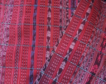 Guatemalan ikat fabric red handwoven corte by the yard