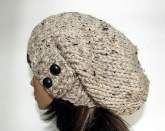 Slouch Beanie Women's Button Tab Hat Knit Hat Slouchy Hat Winter Fashion Accessories - Neutral Tan Beige Marble
