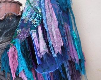 "20%OFF wedding bohemian boho gypsy lagenlook OAK shabby mermaid wrap skirt...40"" across plus ties."