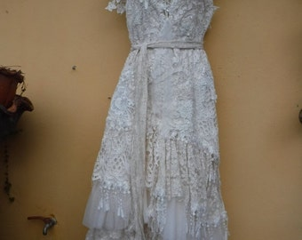 "20%OFF vintage inspired shabby bohemian gypsy dress ..smaller to 36"" bust..."