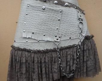 "20%OFF Burning Man,,bohemian tribal croc print fringed leather belt..32"" to 40"" waist or hips.."