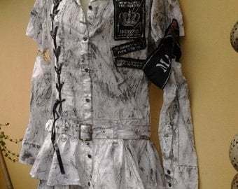 """20% OFF punk rock festival cos play painted dress...small to 34 """" bust...FREE SHIPPING"""