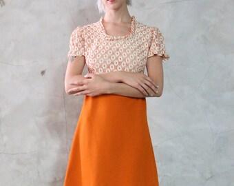 60s dress, babydoll mod vintage pumpkin orange cream lace baby doll puffy capped sleeve, empire waist, mini dress, womens small s
