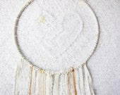 RESERVED for Candice - Extra Large Dreamcatcher, White, Cream and Gold Shabby Chic Lace Love Catcher, Wedding Gift Decor