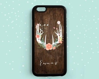 Deer Antler With Colorful Flowers, Personalized First Name, iPhone 6s 6 plus, 5s 5c 4s, Samsung Galaxy s6 s5 s4 s3, Note 3 4 5 Case NP62