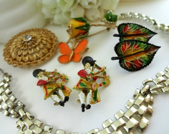 Orange and Black Vintage Jewelry Pieces for Assemblage / Bouquet Filler / Altered Art Pieces / Bag Pipes / Butterfly / Leaves