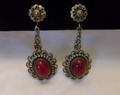 Antique Art Deco Victorian Revival Purple Red Glass Cabochon Brass Vintage Drop Screwback Earrings