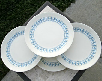 Vintage Homer Laughlin Blue Fleur De Lis China Dinnerware Set - Four Dinner Plates