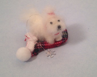 Maltese Christmas tree ornament- Ready to ship!