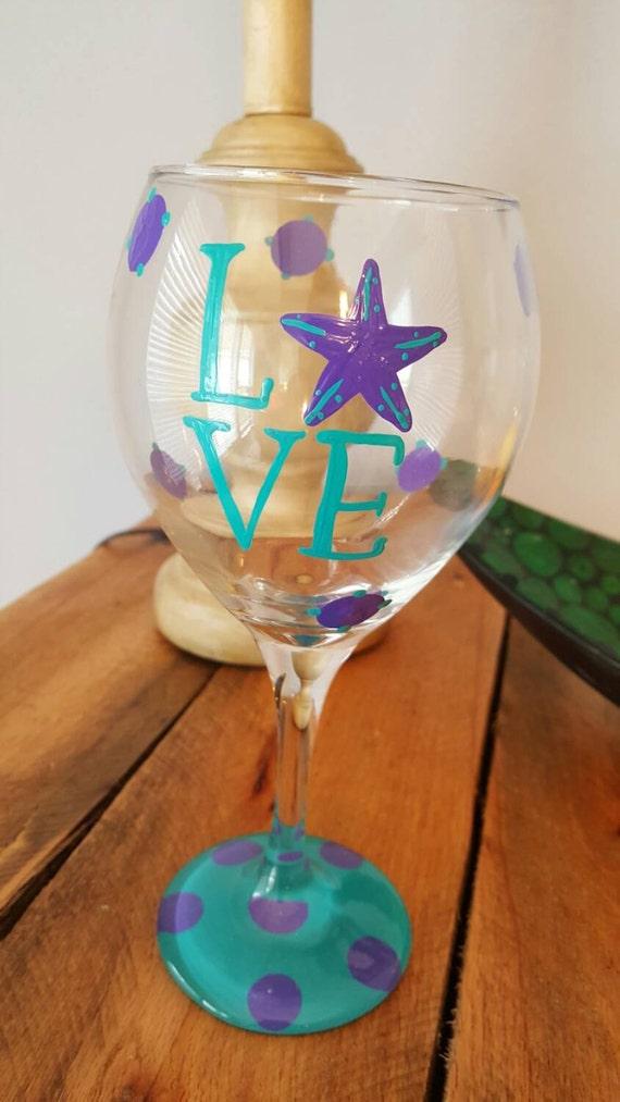 Starfish Love Nautical Wineglass Design- Painted Wine Glass