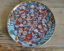 Vintage - Franklin Mint china plate - Santa Claws - Bill Bell - Christmas
