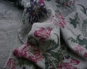 Linen print fabric with romntic flowers   / luxury fabric/pre wased/ wintage