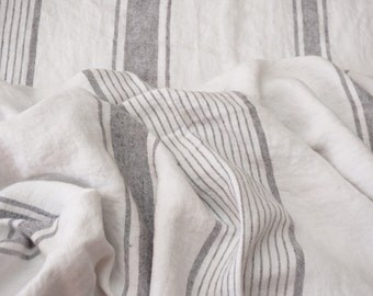 Linen heavy fabric with black stripes---Light gray color-- fine textile--home decor--soft