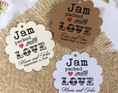 Sets start at 50 Personalized Printed JAM PACKED with LOVE Tag