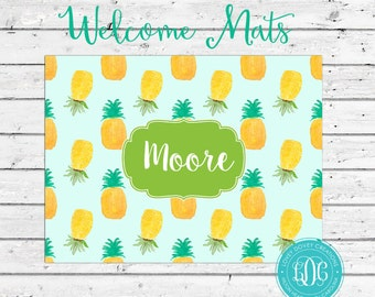 Personalized Door Mat, Monogrammed Doormat, Custom Door Rug, Pineapple Doormat, Monogrammed Door Mat, Custom Doormat, Pineapple Rug