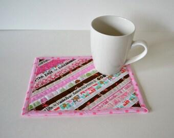 Quilted Cotton Coaster, Mug Rug, pink brown, nursery decor, Ann Kelle, Robert Kaufman