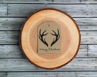 Rustic Merry Christmas Antler Gift Tags