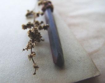 Graphite Crystal Quartz Necklace, Rustic Elvish Necklace, Woodland Jewelry, Small Quartz Crystal Necklace, Crystal Jewelry