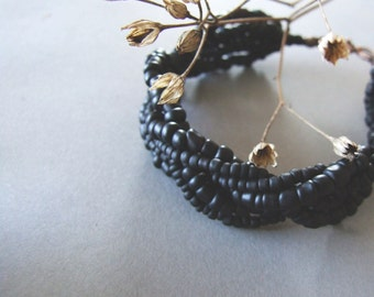 Black Braided Bracelet, Big Bold Beaded Black Bracelet, Boho Jewelry, Retro Style Bohemian Braided Bracelet