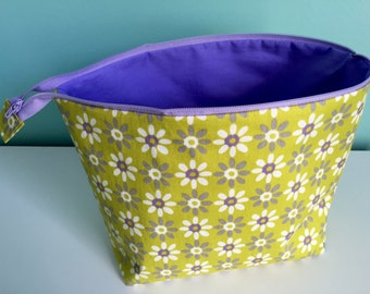 Zippered Flat Bottom Knitting Project Pouch Bag Tote Large Size Purple lime green flowers