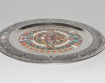 Aztec Metal Plate, Mexico, Home Wall Decor, Vintage