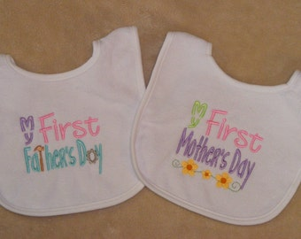 Baby's First  Mother's Day and Father's Day bibs - set 2