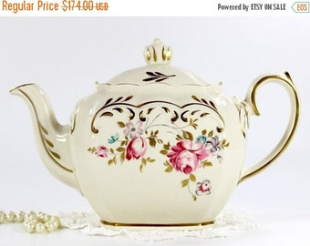 Sadler Cube Teapot, 1930s Sadler, Full Sized Tea Pot, 4 Cup Pots, English Porcelain Tea 12674