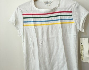 vintage old school rainbow fitted white tee