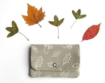 Card holder · mini pouch · small wallet · A walk in the woods · organic cotton