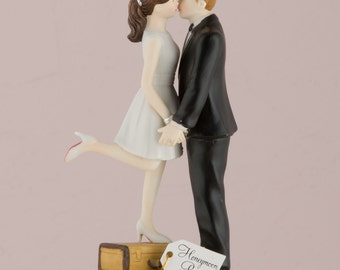 Personalized Wedding Cake Topper A Kiss And We're Off Honeymoon Bride Groom Couple Travel World Suitcase Customized Custom Hair Destination