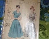 Vintage Butterick 7373 Scoop Neck Dress Sewing Pattern 34 Inch Bust
