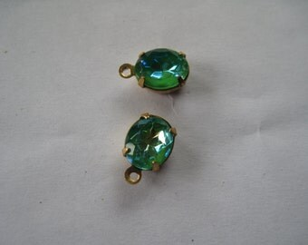 2 Bluish/Green Gemstone Drops