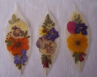 Pressed flowers on leaf skeletons book marks, set of 3. Set 036.