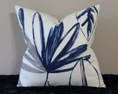"BOTH SIDES - Large Floral Print by P. Kaufmann - Navy Blue, Grey and Off White - 18"" - 24"" Square Decorative Designer Pillow Cover"